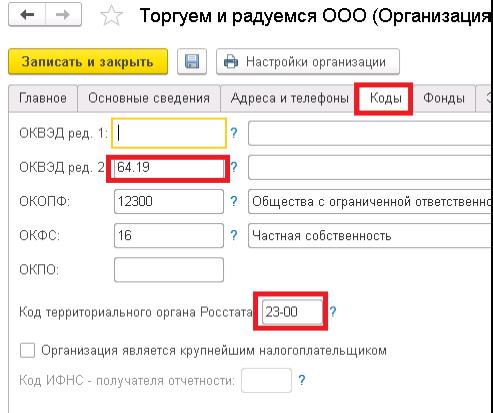 Код росстата для электронной отчетности как пользоваться 1 с бухгалтерия